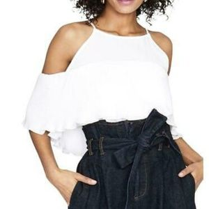 RACHEAL RACHEAL Roy Ruffled Cold Shoulder Blouse